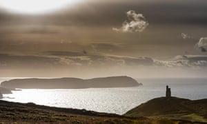 The Calf of Man seen from Bradda Head on the Isle of Man.