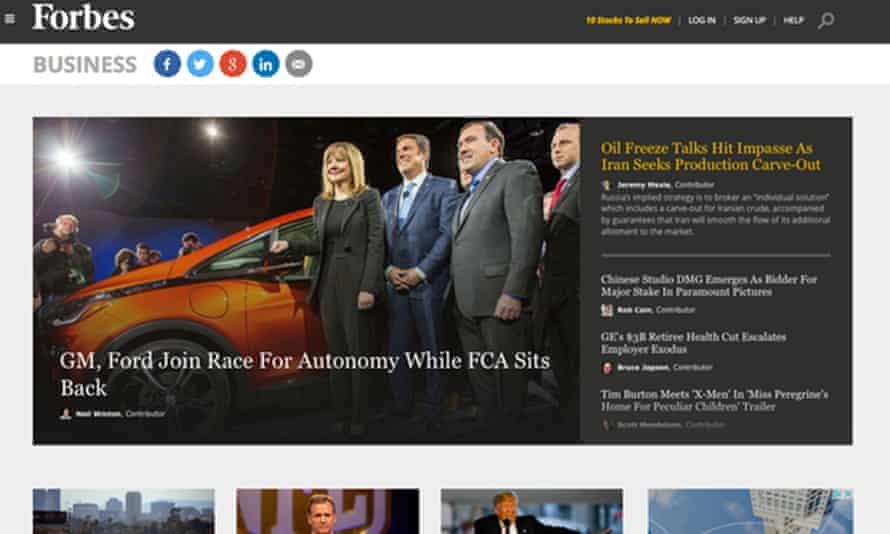 The Forbes website. There is no suggestion that any of the contributors whose stories are pictured have asked for payments from PR companies.