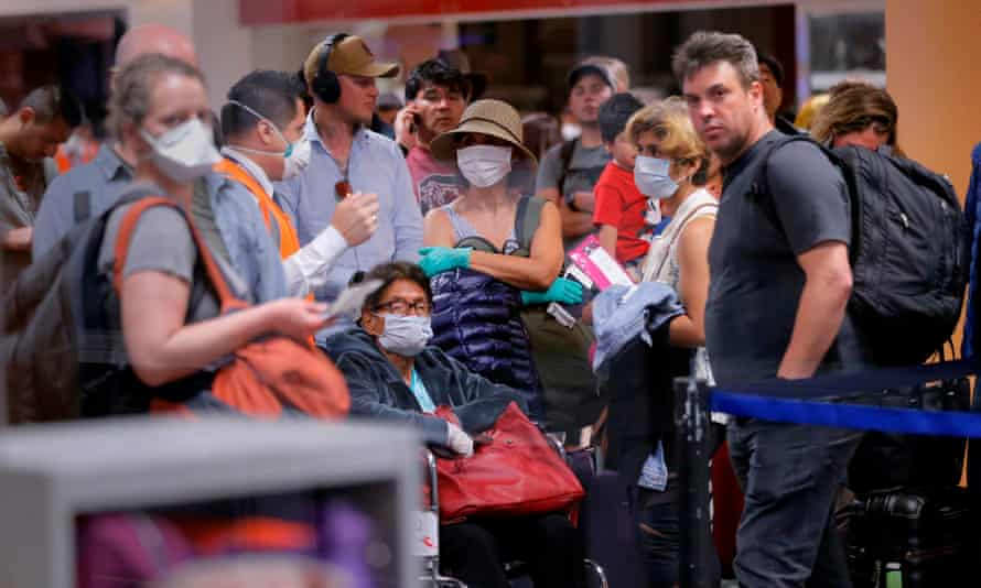 Travellers wait for their flights out of Peru