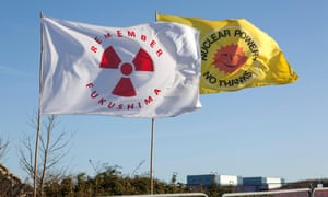 Anti-nuclear flags fly at Hinkley Point in north Somerset