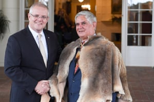 Minister for Indigenous Australians Ken Wyatt (right) with prime minister Scott Morrison after the Coalition government's swearing in at Government House in Canberra on 29 May.