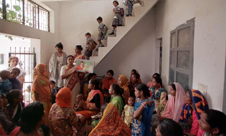 A family planning meeting for women in the densely populated Sangam Vihar district in Delhi.