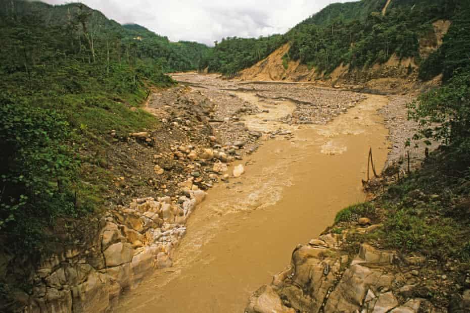A muddy Ok Tedi River