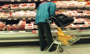 Supermarket shopping at Tesco in Edinburgh.