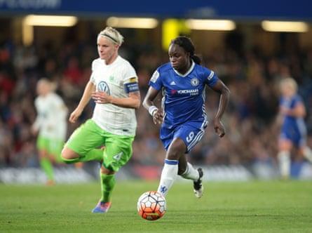 Eni Aluko takes on Wolfsburg's Nilla Fischer during Chelsea's Champions League campaign last season