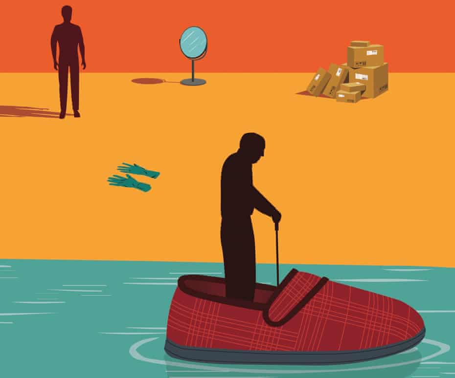 Illustration of figure standing in a boat shaped as slipper