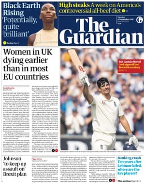 Guardian front page, Tuesday 11 September 2018