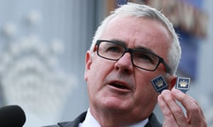Independent MP Andrew Wilkie outside Crown casino Melbourne on Tuesday, 24 April.