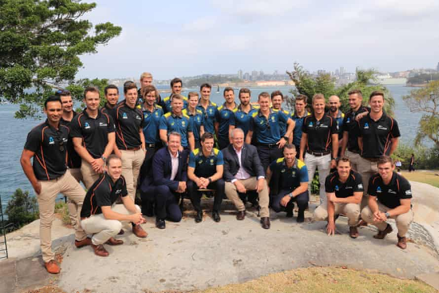 The Australia and New Zealand Test teams meet with Scott Morrison