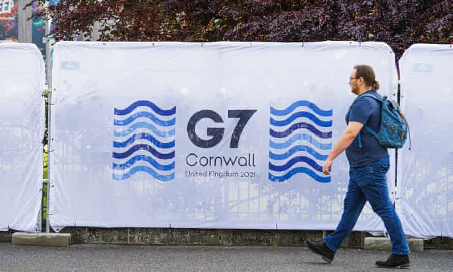 Signage during preparations for the G7 summit in Cornwall