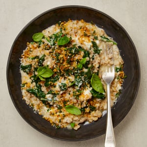 Yotam Ottolenghi's barley risotto with lemon, spinach and breadcrumbs.