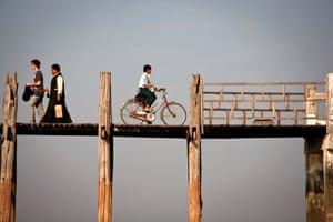 Douglas Scott: U-Bein bridge Taung Tha Man Lake, Mandalay, Myanmar. U Bein Bridge, Amarapura, Myanmar. Late afternoon light helped make this personal favourite from an enchanting trip.