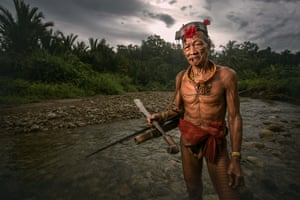 A portrait of one of the warriors in the river