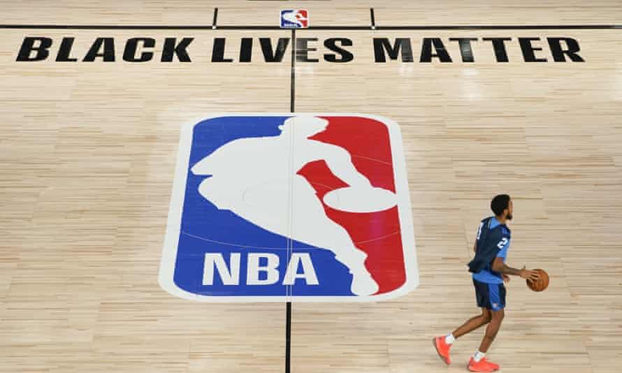 Oklahoma City Thunder's Terrance Ferguson practises in an NBA basketball arena in Lake Buena Vista, Florida on Friday.