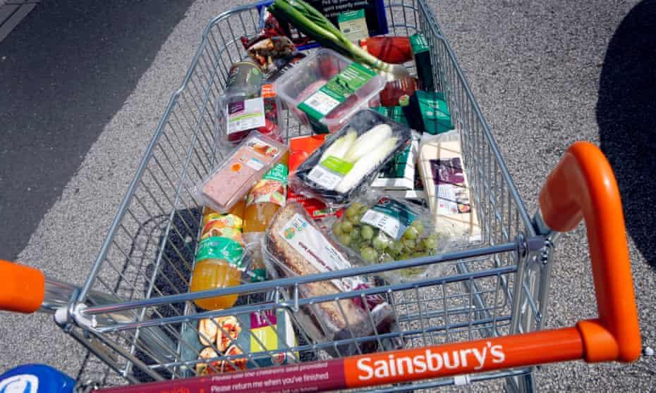 Food in a Sainsbury's trolley