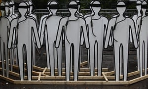 Cardboard cutouts representing executions at a protest outside the UN in 2014.