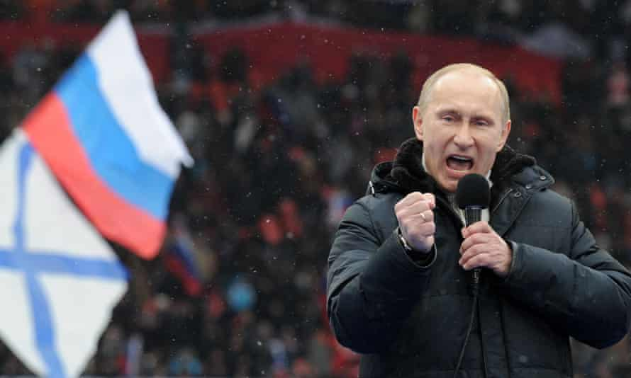 Putin addressing a rally of supporters in Moscow before the 2012 presidential elections.