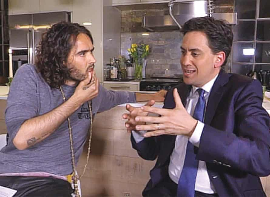 Russell Brand interviewing Ed Miliband for his YouTube show The Trews in 2015