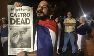 Hundreds of Cubans exiles celebrate in Little Havana, Miami, after the death of Fidel Castro on 30 November.