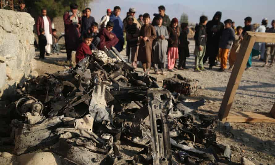 The site of a suicide car bomb in Nangarhar province, Afghanistan, February 2021.