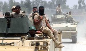 Egyptian armed forces patrolling the Sinai peninsula where Isis affiliate Sinai Province operates.