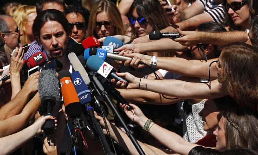 Pablo IglesiasSpain's Podemos coalition party leader Pablo Iglesias talks to journalists in Madrid