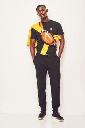STREET STYLE Add a pop of colour to an all-black outfit T-shirt, £43.99, Kappa Kontroll consortium.co.uk Jogging pants, £35, arket.com Bag, £238, Heron Preston selfridges.com Trainers, £280, fillingpieces.com Yellow jumper as before Grooming Juliana Sergot using Dermalogica and Kiehl's since 1851 Model Kesse at Premier Fashion assistant Bemi Shaw