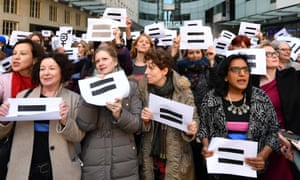 BBC employees gather outside Broadcasting House in London to highlight equal pay on International Women's Day last year.