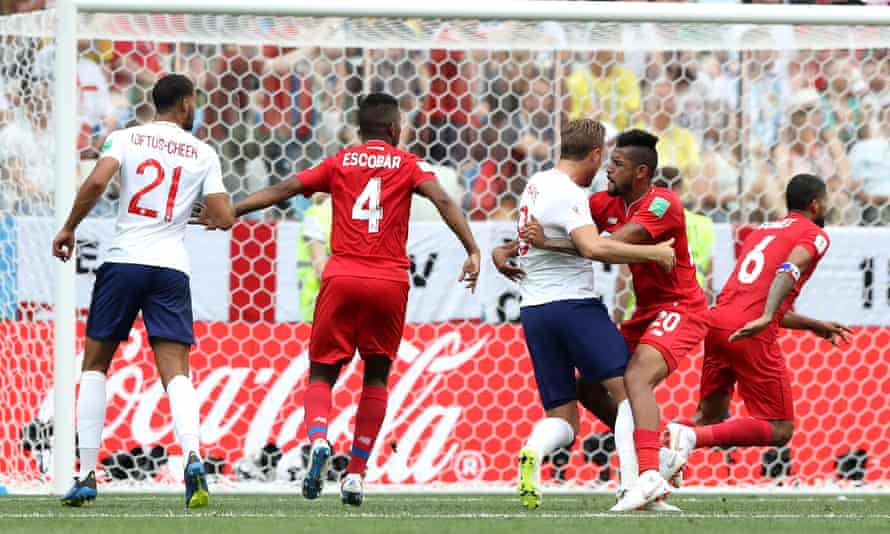 Harry Kane is held by Panama's Anibal Godoy during England's 6-1 victory