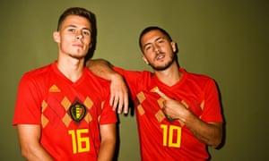 Thorgan Hazard and Eden Hazard in Belgium colours before the World Cup in 2018.