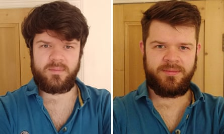 Mike Hawkins' before and after haircuts.