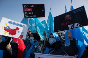 Uighurs who have missing families at a protest against China, in Istanbul, Turkey, last month. The protest was to highlight human rights abuses of minority groups inside China.