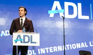 Baron Cohen speaking at the Anti-Defamation League summit in New York City, 2019.
