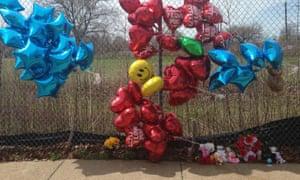 A makeshift memorial along a fence where Robert Godwin was killed.