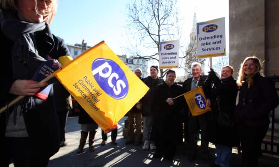 PCS members striking to defend the civil service compensation scheme protest outside the National Portrait Gallery.