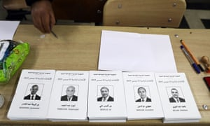 Ballot papers at a polling station in Algiers