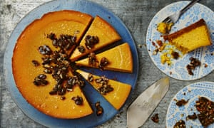 Photograph of Thomasina Miers' baked pumpkin cheesecake with candied pumpkin seeds