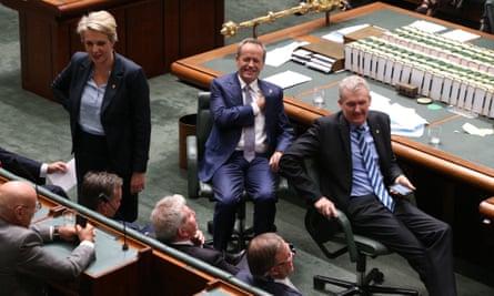 Tanya Plibersek, Bill Shorten and Tony Burke in the House of Representatives on Thursday