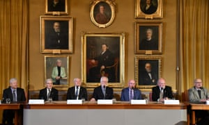 Economics, chemistry and physics laureates (left to right) Richard Thaler, Richard Henderson, Joachim Frank, Jacques Dubochet, Kip Thorne, Barry Barish and Rainer Weiss at the Royal Swedish Academy of Sciences in Stockholm.