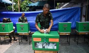 Thai soldiers cast their votes.