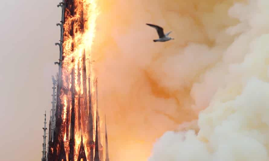 Fire engulfs the spire.