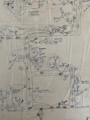 Ian Livingstone's plan for Deathtrap Dungeon in 1984.