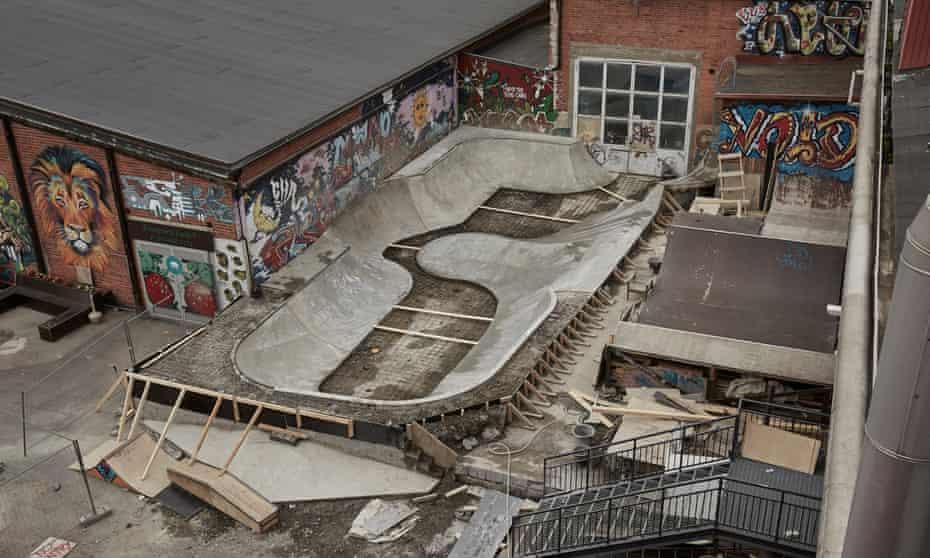 A skatepark being built near Lake Näsijärvi, Tampere, Finland.