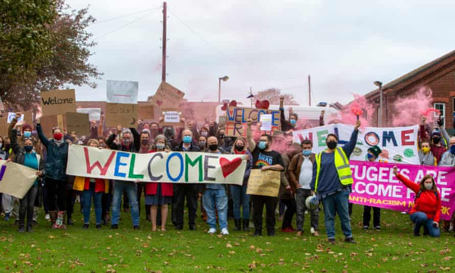 Kent locals come together to show the people staying there that they are welcome in Folkestone, 17 October 2020.
