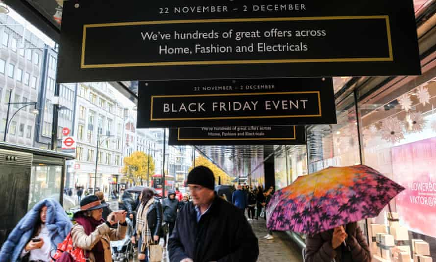 John Lewis on Oxford Street with Black Friday sales promotions