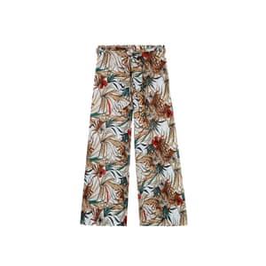 Wide-leg leaf trousers