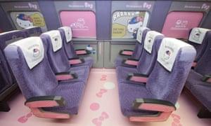 Inside the Hello Kitty shinkansen train.
