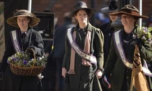Helena Bonham Carter, Carey Mulligan and Anne-Marie Duff on the set of Suffragette.