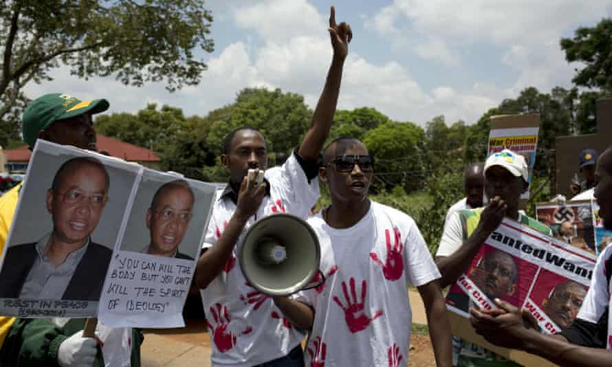 Protesters seen earlier this year outside the Rwandan embassy in Pretoria, South Africa