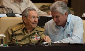 President Raúl Castro talks with his successor, Miguel Díaz-Canel.